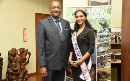 Minister Harmon meets with Miss World Guyana