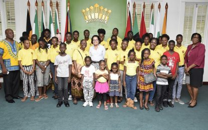 Youths of the Grace Prayer Centre tour State House