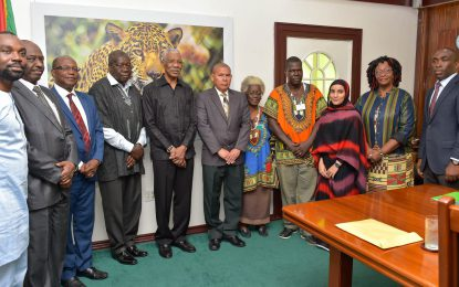 African Union Commission pays courtesy call on President Granger
