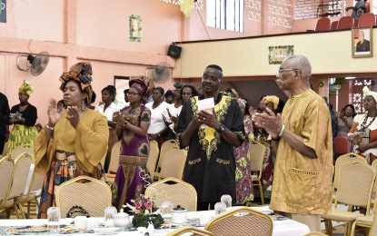 President David Granger attending the Sunrise Worship, prayer breakfast at the Glory Tabernacle in Plaisance this morning