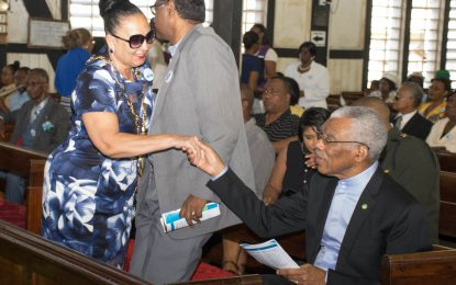President Granger attends thanksgiving service in honour of Georgetown's 175th anniversary