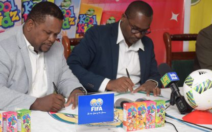 Football federation, Guyana Beverages Inc. sign MOU