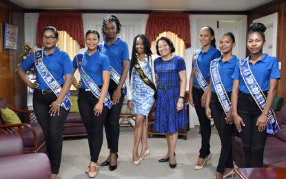 Lethem Town Week pageant contestants pay courtesy call on first Lady