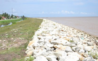 Over 800 metres of sea-defence works completed on West Coast of Demerara