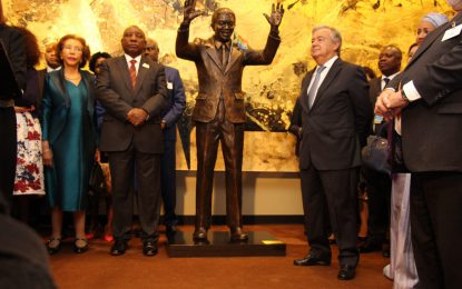 Minister Greenidge attends unveiling of Nelson Mandela Statue at UN Headquarters