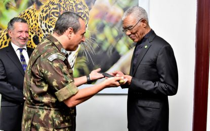 President Granger receives distinguished Jungle Warrior Machete from Brazilian Army