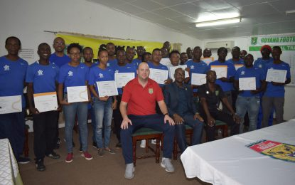 CONCACAF certified D License and goalkeeping coaches receive certificates