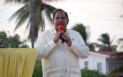 PM Nagamootoo calls on villagers to vote for development instead of party