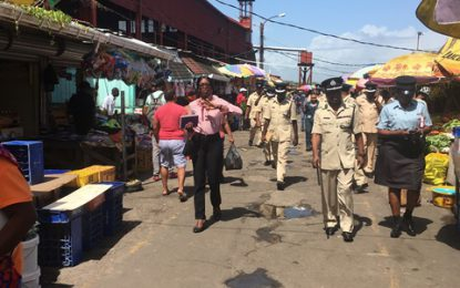 Commander 'A' Division and team visit several areas around Georgetown