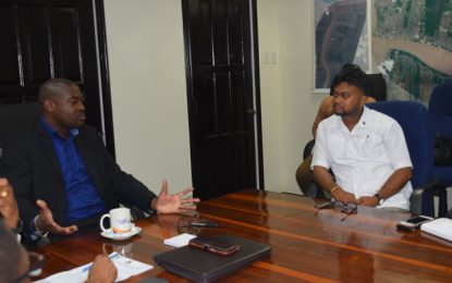 His Worship Ubraj Narine paid a courtesy visit to Minister David Patterson