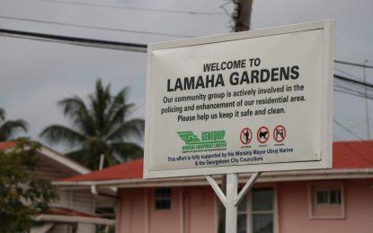 Lamaha Gardens sign unveiled