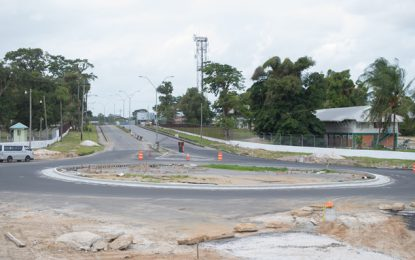 Timehri roundabout nears completion