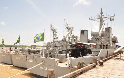 Vessels of Brazilian Navy dock in Port Georgetown as part of CARIBEX 2019