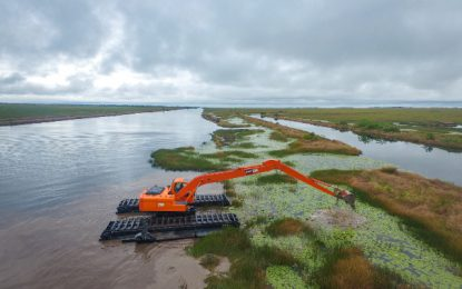 From land to sea: First amphibious excavator sets sail
