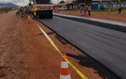 Asphalt paving begins on Lethem road