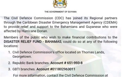 DISASTER RELIEF FUND – BAHAMAS