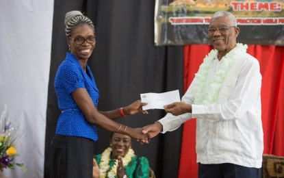 President Granger presents $1M cheque to New Amsterdam Secondary for STEM
