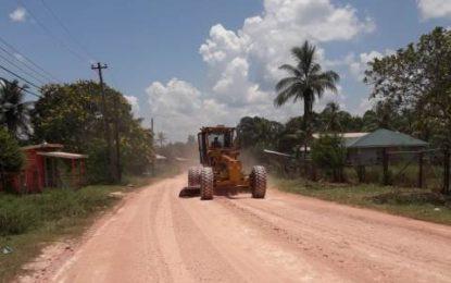 Natural Resources Min. upgrades Kwakwani main access road