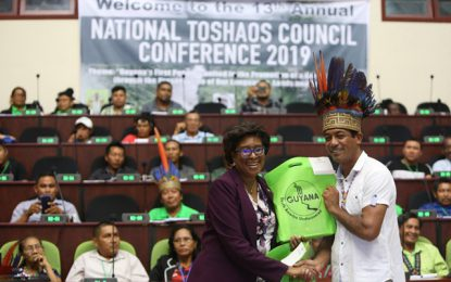 Toshaos benefit from tablet distribution