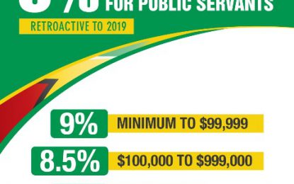 9% and 8.5% tax-free retroactive salary increase for public servants