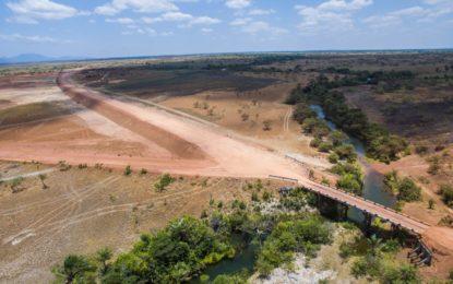 First concrete bridge along Lethem trail under construction