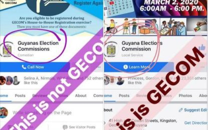 GECOM issues advisory on 'FAKE' Facebook page