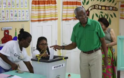 President David Granger votes!
