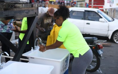 Handwashing station installed at Stabroek Market Square