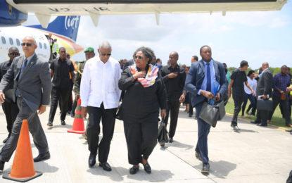 CARICOM leaders arrive in Guyana.