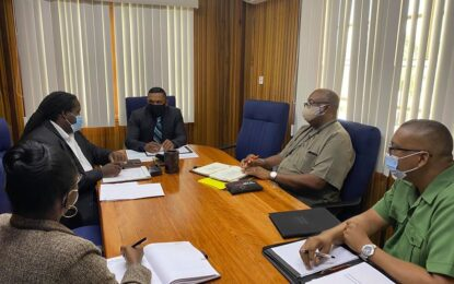 Minister of Natural Resources Hon. Vickram Bharrat meets with Heads of Agencies in the Natural Resources Sector